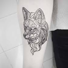 Nice Lower Sleeve Classy Cool Geometric Wolf Tattoo