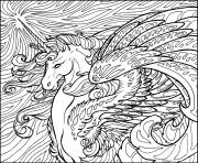 Printable Hard Licorn Horse Animal Adult Coloring Pages