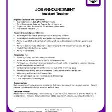 Resume Example For Pre Kindergarten Teacher Assistant New Magnificent K About
