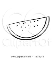 Cartoon A Black And White Watermelon Slice Royalty Free Vector Clipart by Graphics RF