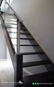 An Open Tread Black Oak Staircase With Steel Rail & Glass ... Modern Glass Stair Railing Design Interior Waplag Still In Process Frameless Staircase Balustrade Design To Lishaft Stainless Amazing Staircase Without Handrails Also White Tufted 33 Best Stairs Images On Pinterest And Unique Banister Railings Home By Larizza Popular Single Steel Handrail With Smart Best 25 Stair Railing Ideas Stairs 47 Ideas Staircases Wood Railings Rustic Acero Designed Villa In Madrid I N T E R O S P A C
