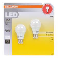 sylvania 100w equivalent led a19 l light bulb 2 pk soft