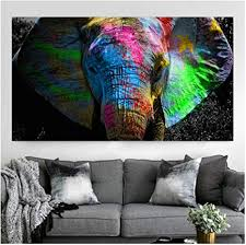 yangdingyao leinwand malerei bunte afrikanische elefant tier leinwand wandkunst bilder für wohnzimmer