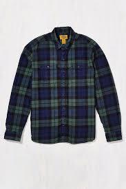stapleford black watch plaid flannel shirt in green for men lyst