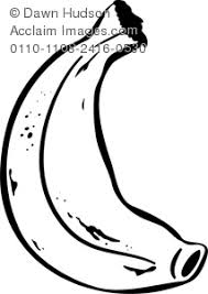 Clip Art Illustration of a Banana Drawn in Black and White