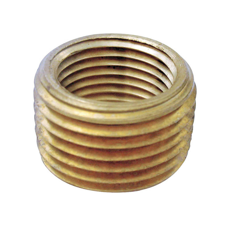 "JMF Lead Free Pipe Face Bushing - Yellow Brass, 3/8"" MPT x 1/4"" FPT"