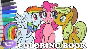 MLP Rainbow Dash Pinkie Pie Applejack Coloring Book Pages My Little Page Kids Art