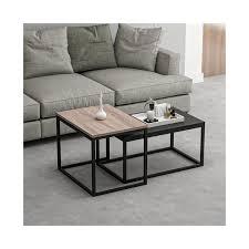 homemania leka kaffeetisch modulare platzersparnis vom wohnzimmer sofa nussbaum schwarz aus holz metall 60 x 47 x 45 cm