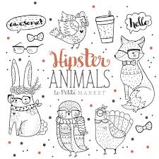 Woodland Hipster Animal Clipart Clip Art Hand Drawn