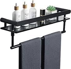 sayayo badezimmer regal 8 mm gehärtetes schwarzes glas regal mit handtuchhalter wandmontage 50 8 cm mattschwarz duschregal mit