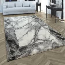 teppich wohnzimmer kurzflor marmor optik mit bordüre modern geometrisch silber grösse 200x290 cm