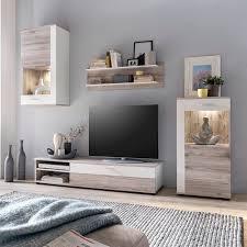 wohnwand für tvs bis zu 58 brayden studio farbe weiß helle sanremo eiche led beleuchtung inklusive
