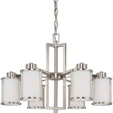 Glomar Andra 6 Light Brushed Nickel Convertible Chandelier With Satin White Glass