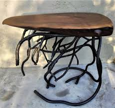 Forged Root Metal Table Base And Live Edge Black Walnut Wood Etsy ...