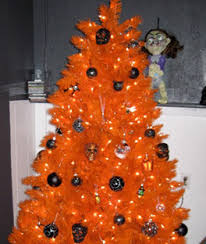Treetopia Orange Tree With Black Halloween Ornaments