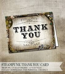 Steampunk Thank You Card Printable Greeting Rustic And Vintage Gears Cogs DIY Folded Offbeat Unique Thanks
