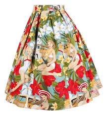 1504179 1950s pinup vintage rockabilly skirt in blue beach lady