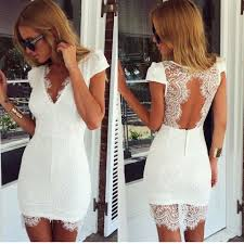 white lace v neck bodycon dress with open back www ustrendy com
