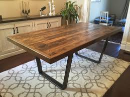 Reclaimed Wood Kitchen Dining Table Pallet Trapezoid Legs Rustic Steel