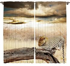 Amazon Curtains Living Room by Amazon Com Animal Print Curtains Room Decor By Ambesonne Leopard