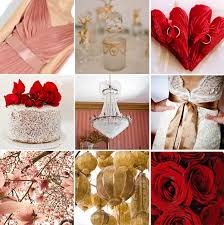 Color Palette Pink Red Gold And White Wedding Insp