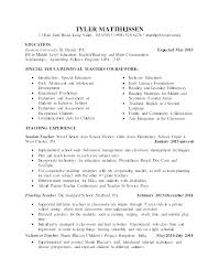 Sample Student Teacher Resume Special Education Samples Format Doc Teaching Elementary T