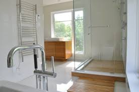 Home Improvements With Teak Wood Shower Bench Flooring For Bathrooms