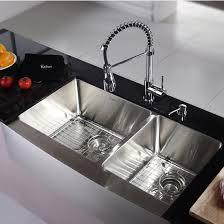 kraus farmhouse 60 40 bowl kitchen sink and chrome or