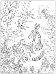 Coloring Book For Adult And Older Children Page With Lovely Mother Deer Her