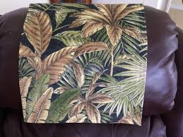 Furniture Protector, Chair Cap, Recliner Headrest Pad, Recliner Head Cover,  Canvas Upholstery Palm Tree Black, Indoor-Outdoor Fabric, 14x30