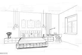 schlafzimmer innenskizze stock vektor und mehr bilder abstrakt