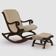 Shilpi Teak Wood Rocking Chair With Foot Rest