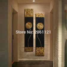 Hand Painted Modern Abstract Gold Black Oil Painting Large Vertical Textured Wall Decorative Canvas Art Picture