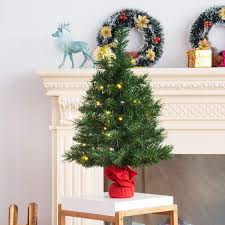 COSTWAY 60CM Pre Lit Christmas Tree 2FT Table Top Artificial Xmas