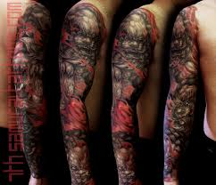 Fudogs In Red Highlights Flames With Rabbit Pendant Kai 7th Samurai Mens Sleeve Asian Tattoo Tattoos