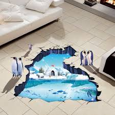 3d wasserdicht polar gletscher boden aufkleber badezimmer dekoration wandaufkleber pinguin wandtattoos dekor decke aufkleber poster