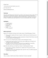 Professional Hotel Management Trainee Templates To Showcase Your Rh Myperfectresume Com Restaurant Resume