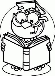 Read A Book Owl Coloring Page