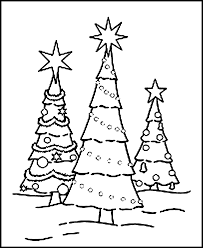 Christmas Trees Coloring Pages Free Printable Tree For Kids Picture