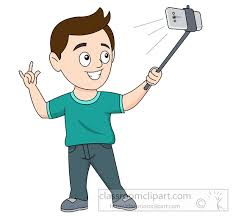 taking a selfie using a selfie stick clipart