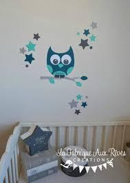 stickers chambre bébé garcon bebe chouette murale bleu decoration gara on fille inspiration une
