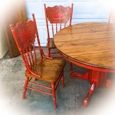 100 Repurposed Table And Chairs Farmhouse Kitchen Set Vintage Pedestal Table Distressed