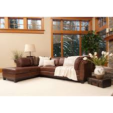 Poundex Bobkona Atlantic Sectional Sofa by Corsario Top Grain Leather Sectional In Bourbon Color Left Arm