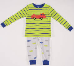 Petit Lem Natural Pajamas In Fire Truck Green Sz 2T & 6x Only ...