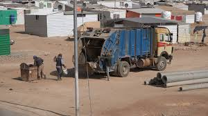 Garbage Truck And Trash Disposal Service Inside The Zaatari Refugee ...