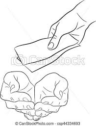 Hand Giving And Taking Money Banknotes Monochrome Vector Illustration