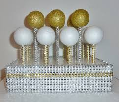 Gold Silver Bling Wedding Cake Pop Stand Rustic Glam