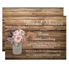 Peach Pink Lavender Wildflowers Barnwood Bridal Card