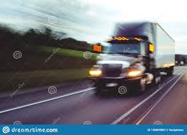 Semi Truck On Highway Concept With Motion Blur Stock Image - Image ...