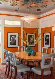 Orange Wallpaper For Walls And Ceiling Designs Paint Colors Dining Room Decorating